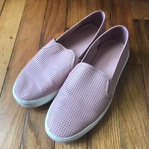 Vince perforated pink leather slip ons